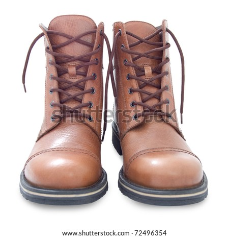brown leather men's boots, over white background - stock photo