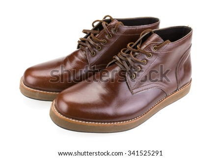Brown leather men's shoes - stock photo