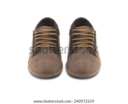 Brown leather mens shoes isolated on white background. - stock photo