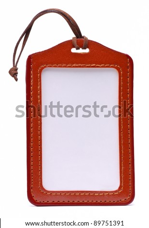 Brown Leather Name Tag - stock photo