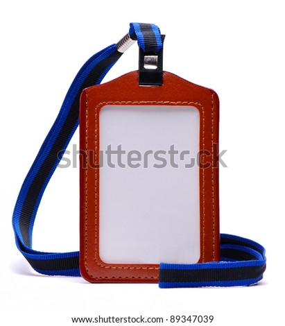 Brown Leather Name Tag with Neck Strap - stock photo
