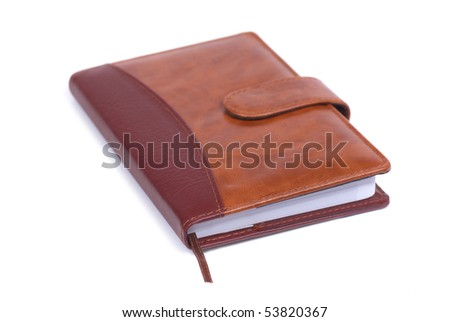 Brown leather notebook isolated on white background - stock photo
