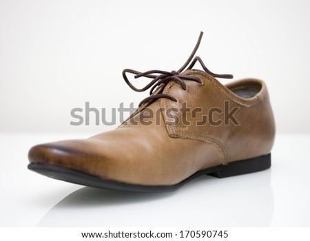 brown leather oxford shoe - stock photo