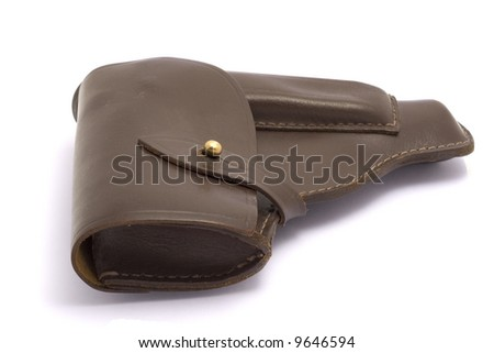 Brown leather PM gun holster isolated on white.