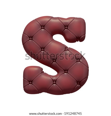 Brown leather S font  letter isolated on white