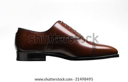 brown leather shoe for man - stock photo