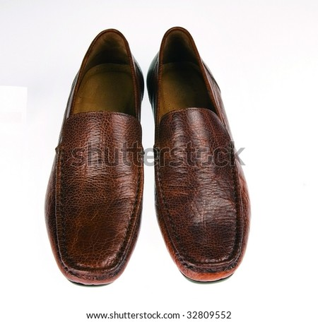 brown leather shoes - stock photo