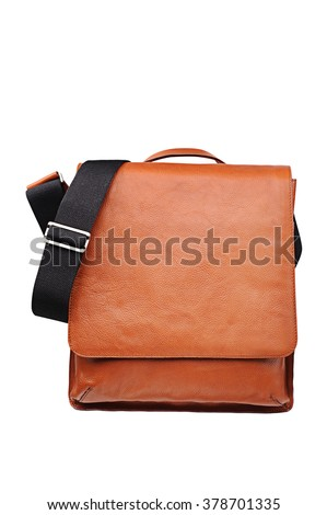 Brown Leather Shoulder bag for Men , Messenger style Accessories  - stock photo