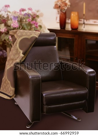 brown leather sofa armchair classic style interior decoration - stock photo