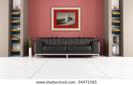 brown leather sofa in a living room with bookshelf and gold picture frame - rendering,the photo on frame is a my image - stock photo