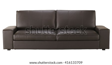 Brown leather sofa  isolated on white include clipping path - stock photo