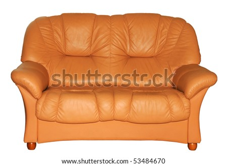 Brown leather sofa on the white background - stock photo