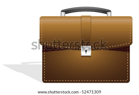 Brown leather suitcase. - stock photo
