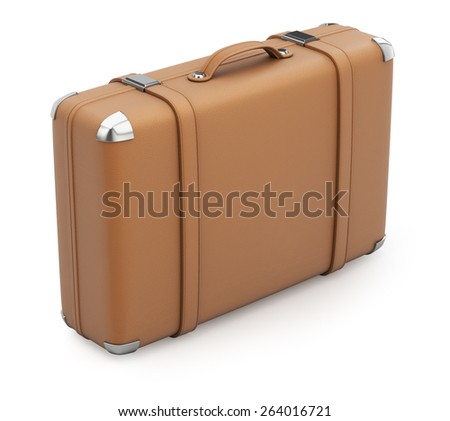 Brown leather suitcase isolated on white. 3d render - stock photo