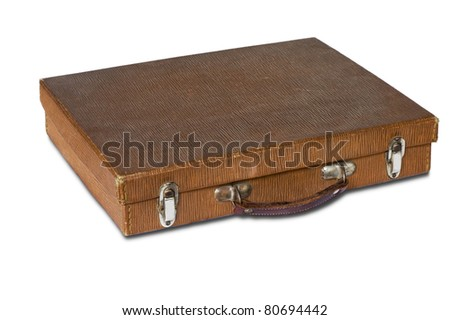 brown leather suitcase on white background - stock photo