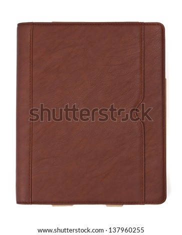 Brown leather tablet computer case on a white background - stock photo