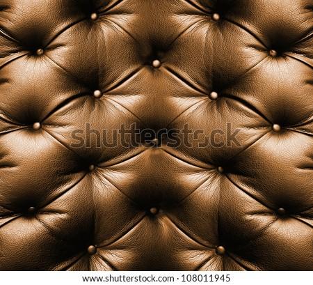 brown leather texture of sofa closeup shot - stock photo