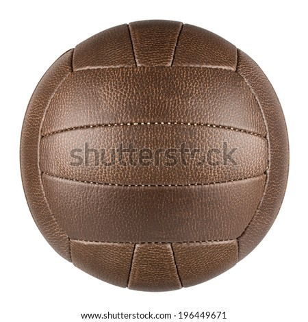 brown leather traditional soccer ball on white background - stock photo