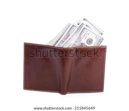 Brown leather wallet  dollars isolated on white background  - stock photo