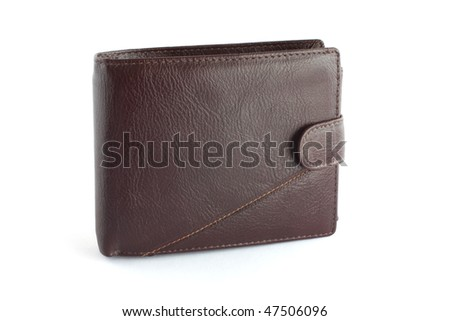 Brown leather wallet isolated on white