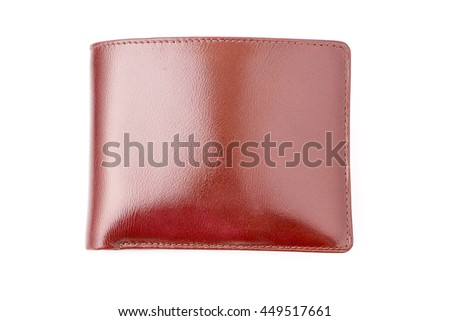 Brown leather wallet isolated on white background. - stock photo