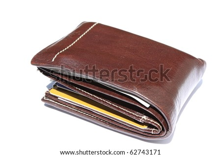 Brown leather wallet isolated on white background - stock photo
