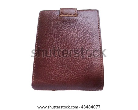 Brown leather wallet on a white background