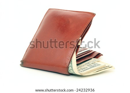brown leather wallet with american dollar banknotes isolated
