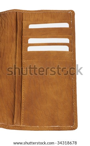 brown leather wallet with cards - stock photo