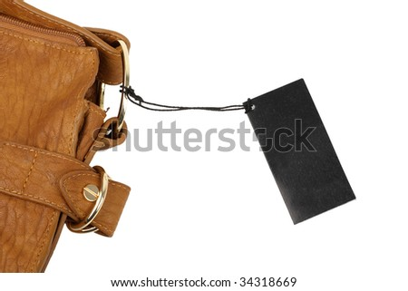 brown leather wallet with cards with tag - stock photo