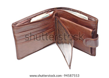 Brown leather wallet with money isolated on white - stock photo