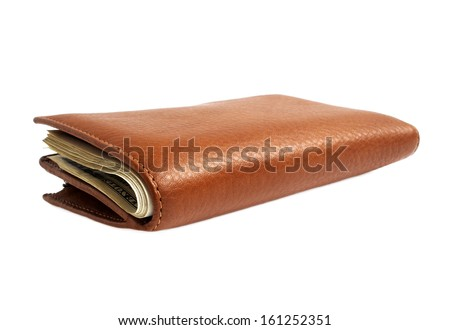 Brown leather wallet with money isolated on white background  - stock photo