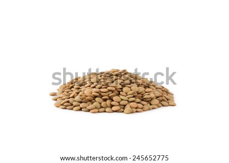 Brown lentils isolated on white - stock photo