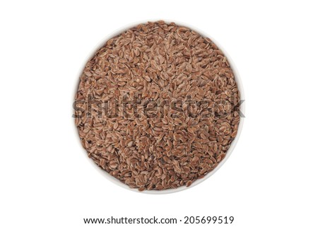 Brown Linseed or Flax seed isolated on white background with clipping path  - stock photo