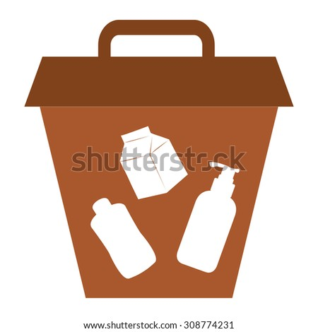 Brown Litter Bin Infographics Flat Icon, Sign Isolated on White Background - stock photo