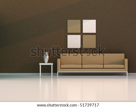 brown living room , modern room - stock photo