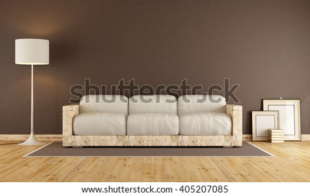 Brown living room with  old wooden sofa and white cushion - 3d rendering - stock photo
