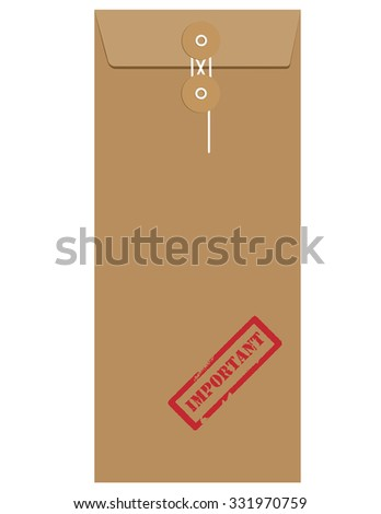 Brown long postal envelope template with red rubber stamp important raster isolated on white  - stock photo