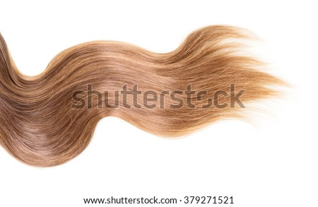 Brown, long, wavy hair on an isolated white background - stock photo