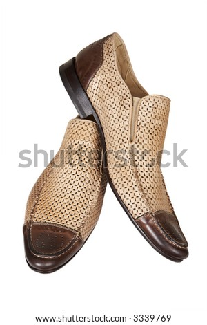 Brown low shoes on a white background - stock photo