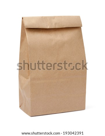 Brown Lunch Bag isolated with a clipping path, on a white background.   - stock photo