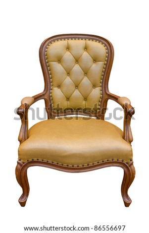 Brown luxury armchair isolated on the white background - stock photo