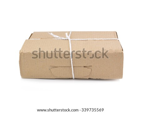 Brown mail package parcel wrap  - stock photo