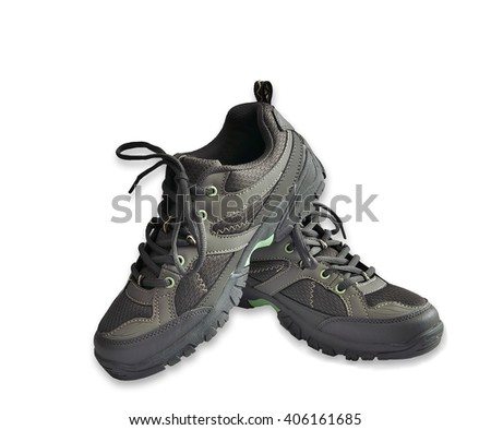 Brown male running shoes over a white background - stock photo