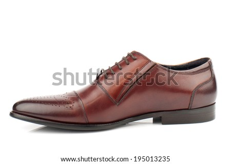 Brown man leather shoe with shoelaces on white background. - stock photo