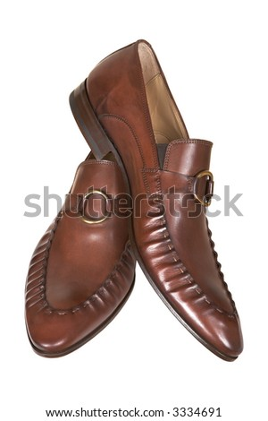 Brown man's low shoes on a white background - stock photo