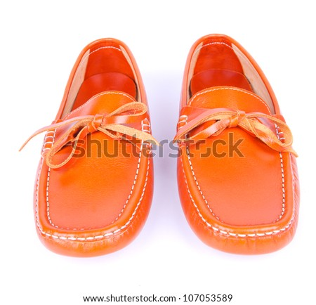 Brown man's shoes isolated on white background - stock photo