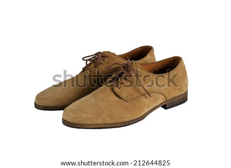 Brown Man Suede Leather Shoes isolated on white background - stock photo