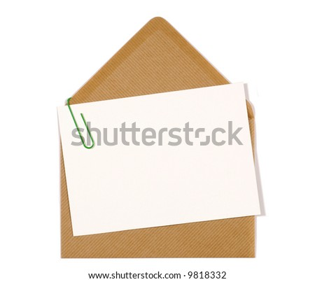Brown manila envelope, blank letter or message card, copy space
