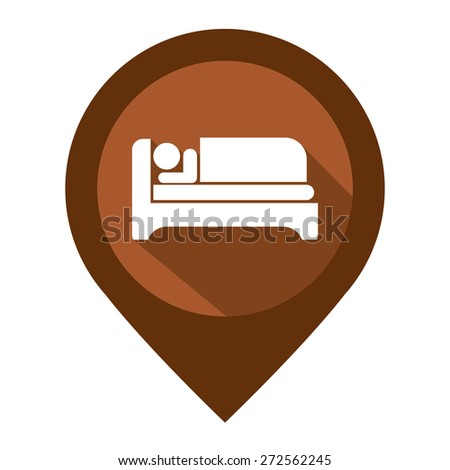 Brown Map Pointer Icon With Hotel, Hostel, Resort or Motel Sign Isolated on White Background  - stock photo